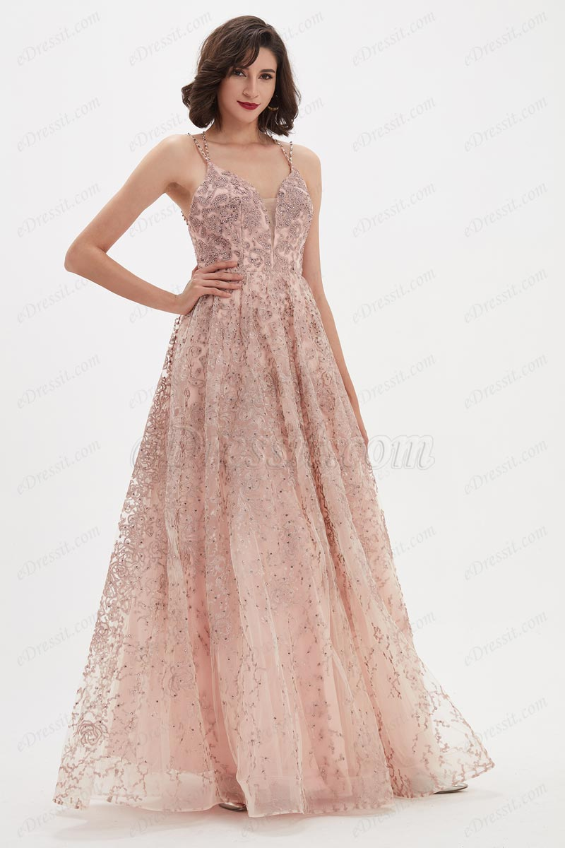 eDressit V-Cut Halter Beaded Embroidery Fabulous Party Gown (02210901)