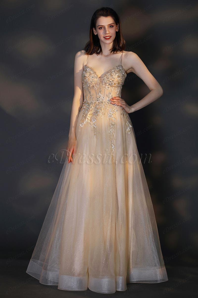 Спагетти ремни с V-образным вырезом без рукавов тюль платье(01202514)