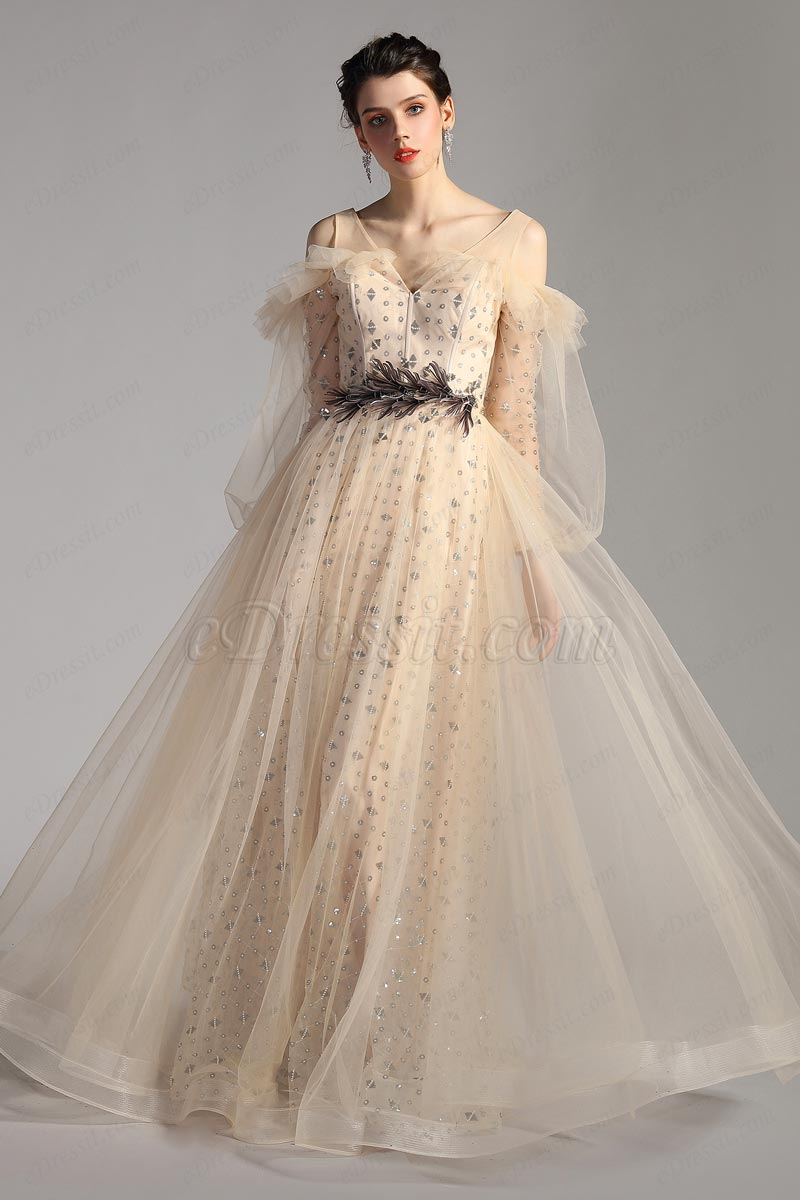 Уникальный дизайн ремни и рукава длинное тюль платье  (02205514)