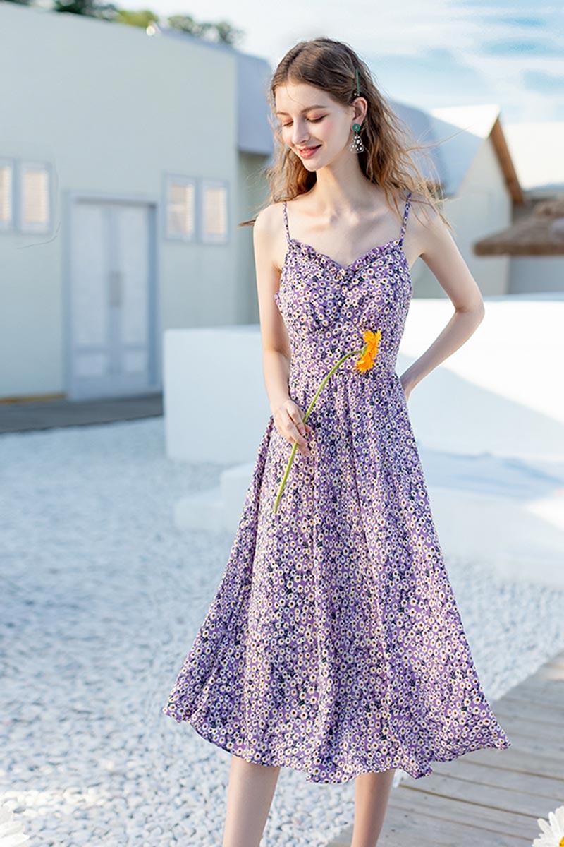 Women's Summer Floral Flower Mixi Dress Party Wear (T061005)