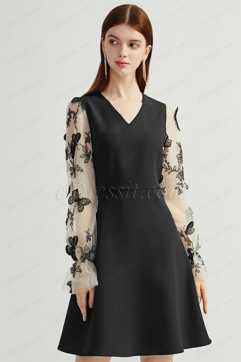 Women Long Lace Sleeves Chic Black Dress (T360009)