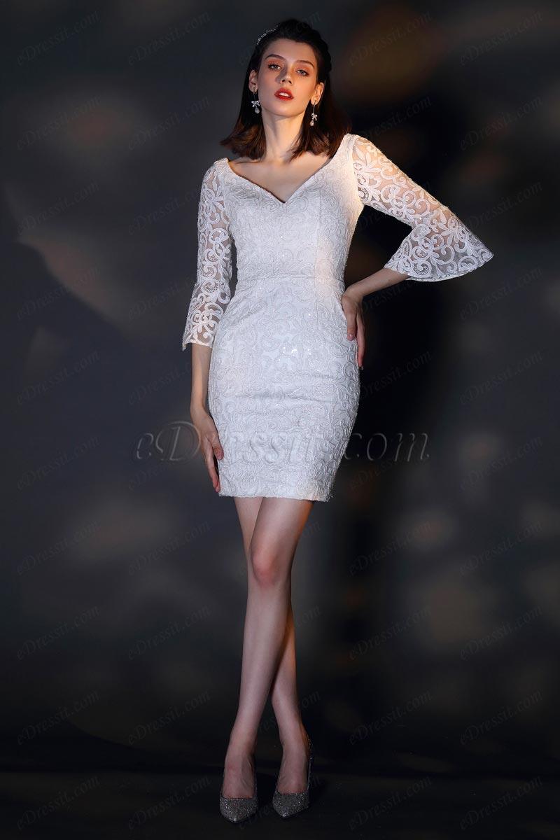 eDressit Weiß Trompetenärmel mit V-Ausschnitt Cocktail Kleid(26201207)