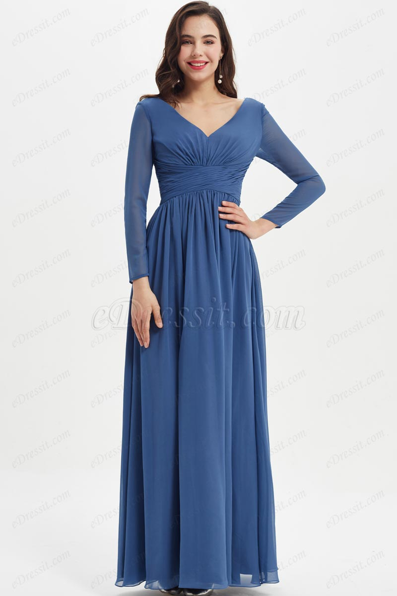 eDressit Blue long Sleeves Wedding Party Bridesmaid Dress (07211205)