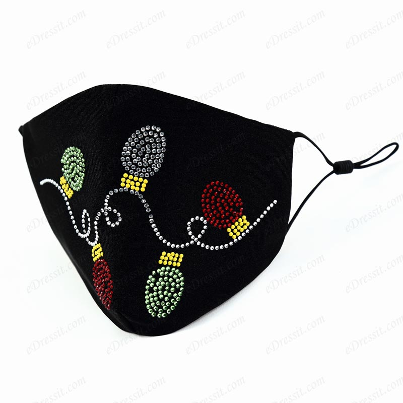 eDressit Black Material Mask with Beading (Mask015)