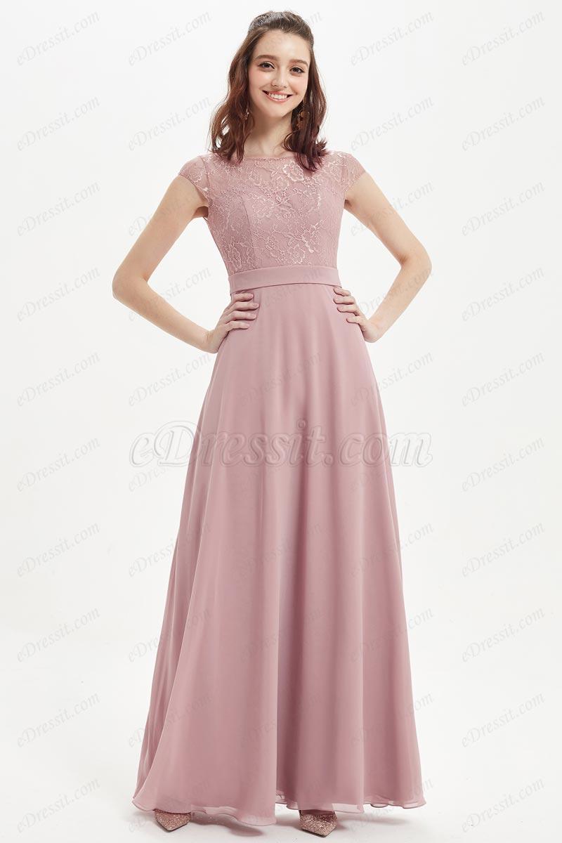eDressit Dusty Rose Cap Sleeves Lace Chiffon Bridesmaid Dress (07214701)