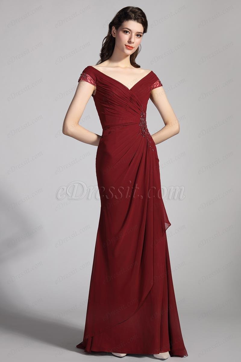 eDressit Бургундия с V-образным вырезом вечернее платье (00204717)