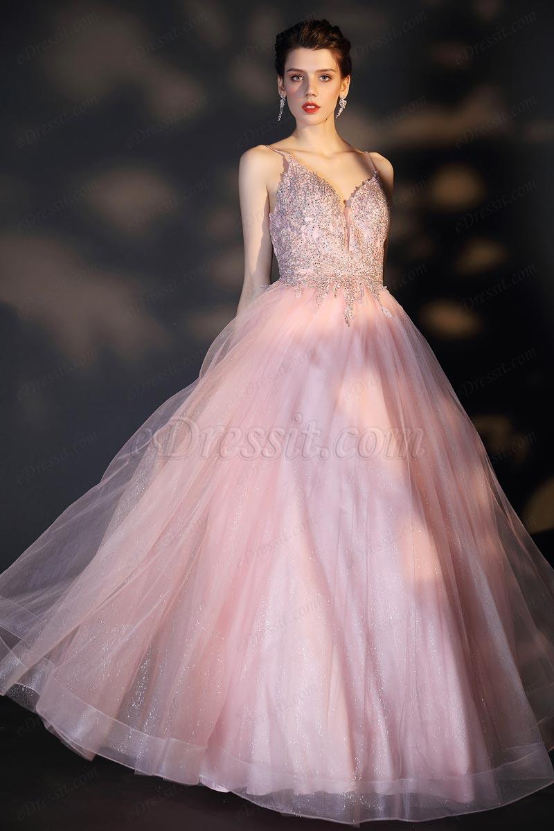 eDressit Lovely Pink Spaghetti V-Cut Embroidery Tulle Ball Dress (00208301)