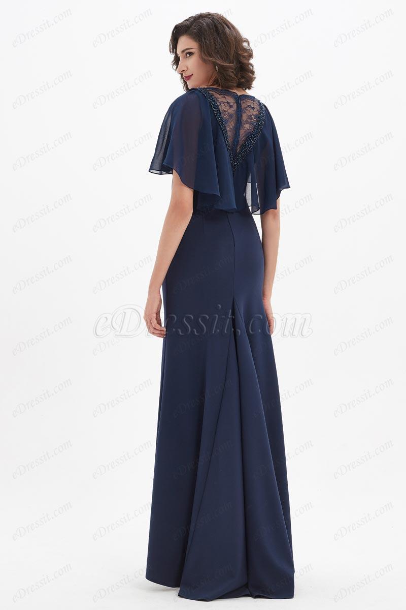 eDressit Blue Ruffle Sleeves Beaded Party Prom Evening Dress (0221150