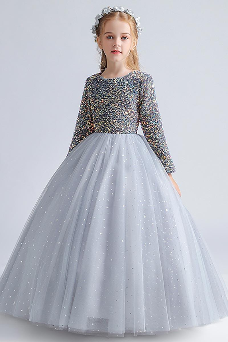 eDressit Grey Beads & Sequins Tulle Flowergirl Dresses (27211008)