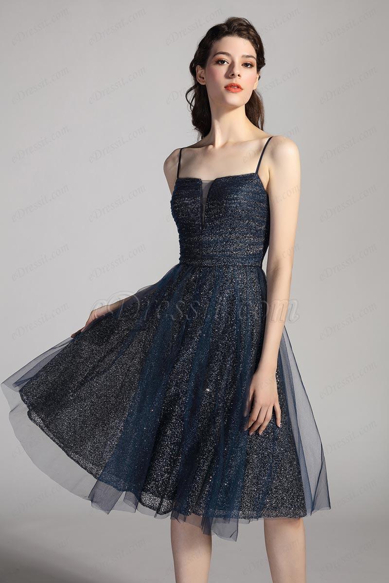 eDressit Glänzendes blaues Party Cocktail Abendkleid (04201005)