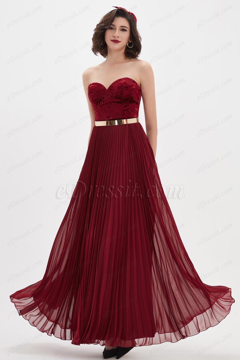 eDressit Burgundy Velvet Sweetheart Corset Gold Belt Party Ball Dress (00210517)