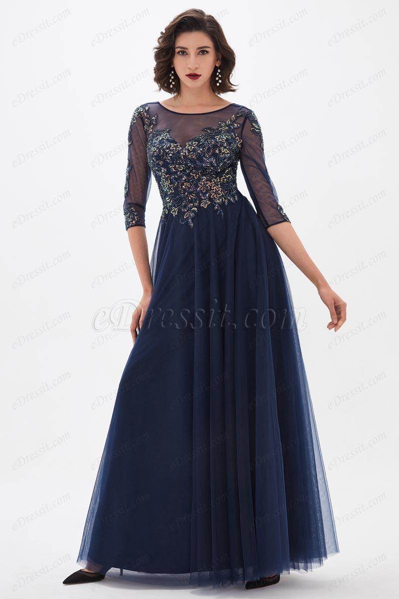eDressit Blau Illusion Ausschnitt Pailletten Mutter Kleid(26211005)
