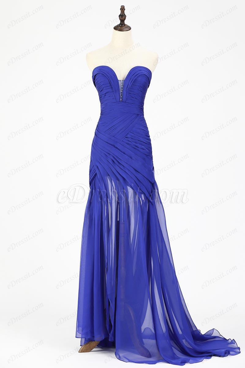 eDressit Robe de Soirée Bleu en Mousseline de Soie (00120544)