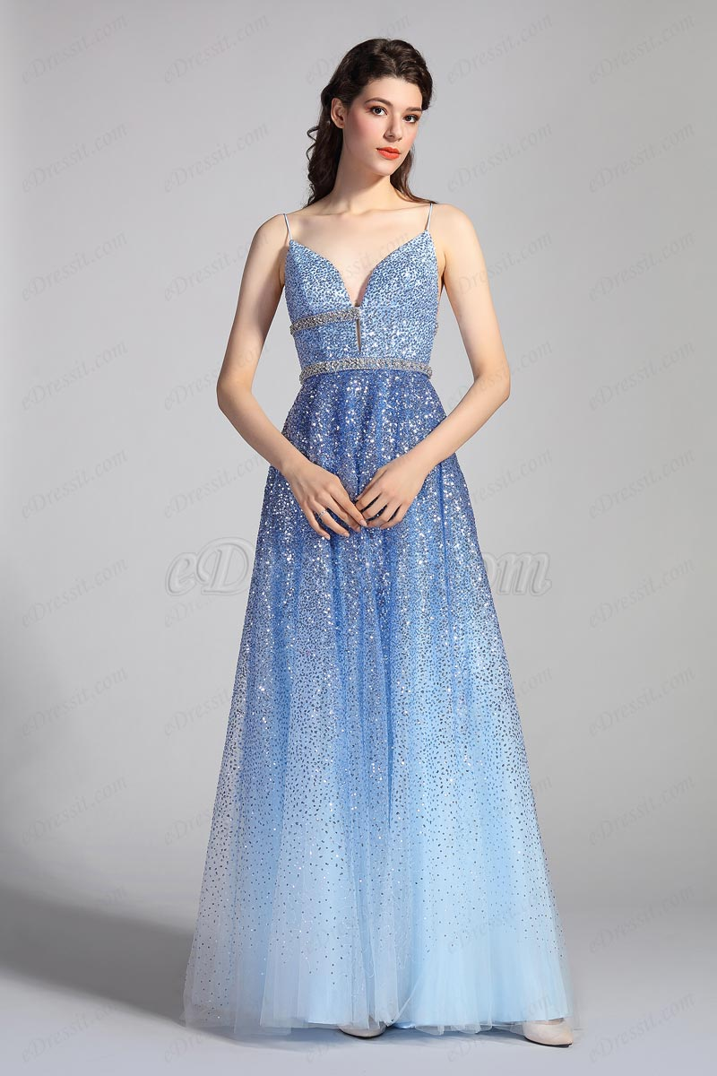 eDressit V-schnitt Träger Blaue Pailletten Party Prom Kleid(00204956)