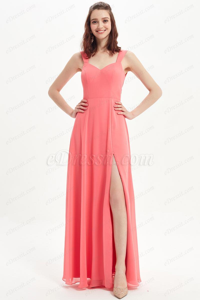 eDressit Coral V-Cut Straps High Slit Wedding Bridesmaid Dress (07216257)