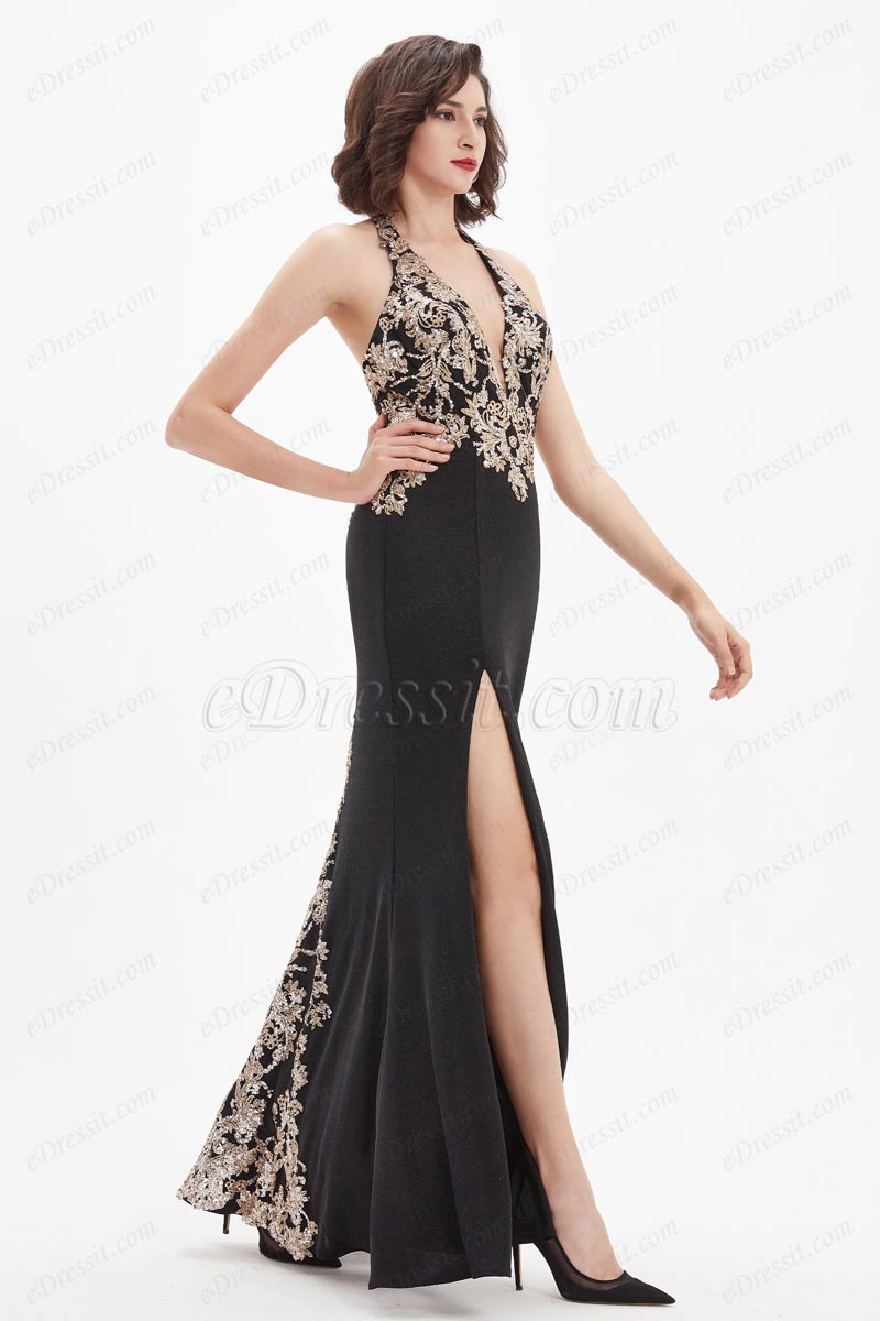 eDressit V-Cut Gold Embroidery High Slit Party Evening Dress (00210200)