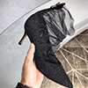 Women's Black Sequins Tulle Closed Toe High Heels Shoes (0919033)