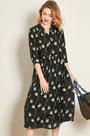 eDressit Silk Black Printed Women Dress Day Wear Shirt Dress (30191600)