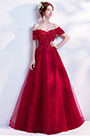 eDressit Red Off Shoulder Lace Applique Party Ball Gown (36201302)
