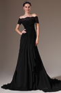 eDressit Black Off-Shoulder Lace Sleeves A-Line Evening Gown (02143800)