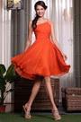 Reddish Orange Ruched One Shoulder Party Dress Cocktail Dress (04135010)