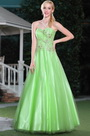 Graceful Green Strapless Floral Beadings Prom Dress Graduation Ball Gown (C36143404)