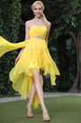 Yellow Strapless Asymmetric High-Low Skirt Cocktail Dress Party Dress (C35143503)