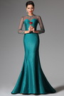 eDressit Darkcyan High Collar Long Sleeves Mermaid Evening Prom Ball Gown (02149505)