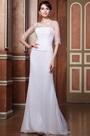 Elegant Sheer Beaded Top Half Sleeves Wedding Gown (C26146807)