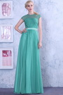 Green Sexy Sheer Top Cap Sleeves Evening Dress Formal Gown (02131004)