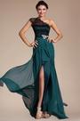 Elegant Lace Shoulder High Split Evening Dress (C00131605)