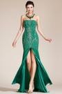 2014 Новое Зелёное Без Бретелек с Бисерами Вечернее Платье с Высоким Разрезом (C36140304)