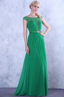 Verde Vestido de Fiesta Elegante Arriba Encaje Mangas Japonesas (02132204)