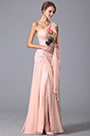 One Shoulder High Slit Evening Gown With Flowy Sash (00150801)