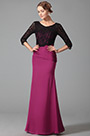 Stunning Floor Length Evening Dress With Long Lace Sleeves (26152812)