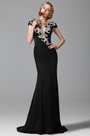 eDressit Cap Sleeves Black Evening Gown Formal Dress (02151100)