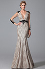 Gorgeous V Neck Long Lace Sleeves Mother of the Bride Dress (26151408)