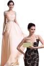 Gorgeous Cap Sleeves Evening Dress Golden Handbag Set (00137214+08130924)