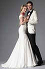 Trumpet Off Shoulder Fully Pleated Wedding Gown(01141607)