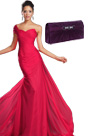 Gorgeous Red One Shoulder Evening Dress Purple Handbag Set(00132102+08110506)