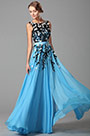 Fabulous Sleeveless Slit Evening Gown With Lace Applique (02151405)