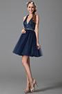 Robe de fête sexy bleu nuit en strass col américain dos nu (04150905)