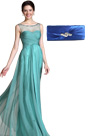 Adorable Turquoise Round Neckline Evening Gown Blue Handbag Set (C00145304+08110405)
