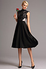 Black Cap Sleeves Lace Bodice Cocktail Dress (04160400)
