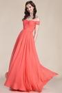 Elegant Off Shoulder Coral Bridesmaid Dress (07151757)