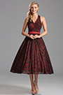 Lovely Burgundy Tea Length Party Dress Cocktail Dress (X04161217)