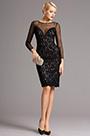 Schwarz Spitzen Langärmeliges Kurz Cocktail Kleid(26160400)