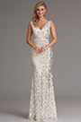 Sexy Plunging Neckline White Sequin Formal Dress Prom Gown (X00161707)