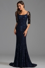 Half Lace Sleeves Sequin Blue Mermaid Formal Gown (X26151605-2)