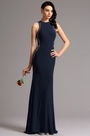 Sleeveless Beaded Navy Blue Formal Gown Prom Dress (36160905)